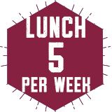 Lunch 5 Per Week $771.00